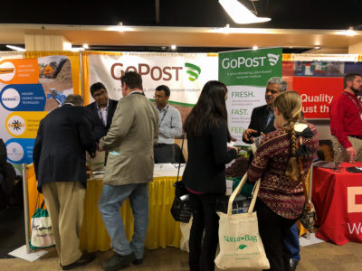 Compost2018 Attendees visit the GoPost3 Booth to learn about the groundbreaking new composting medium.